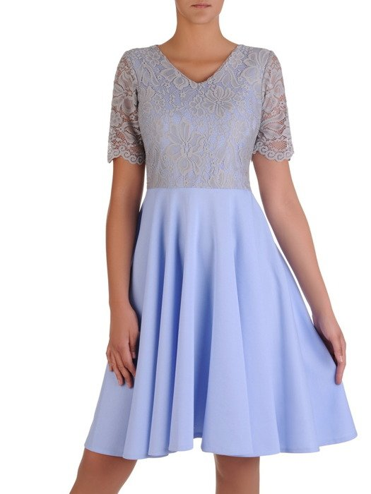 Sukienka damska 17159, elegancka kreacja z tkaniny i koronki.
