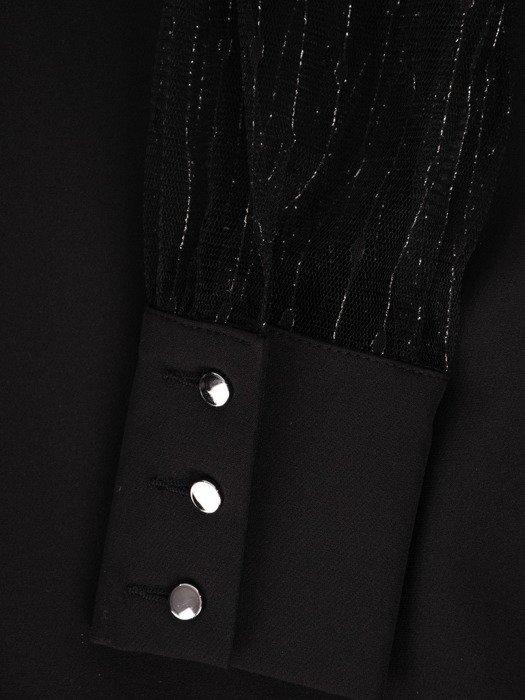 Sukienka damska 18963, czarna kreacja z koronkowymi rękawami i karczkiem.
