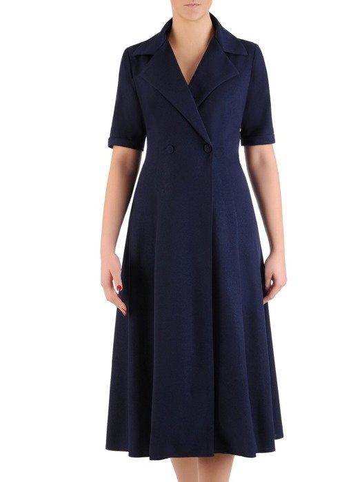 Sukienka damska 19324, granatowa kreacja w kopertowym fasonie.