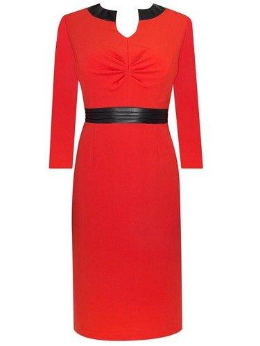 Sukienka damska Ariadna II, czerwona kreacja wykończona skórą.