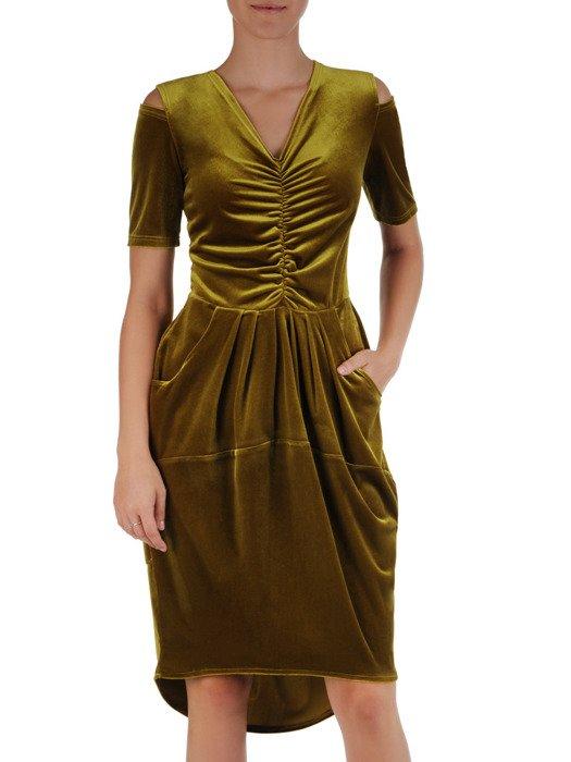 Sukienka damska Donna II, oliwkowa kreacja w oryginalnym fasonie.