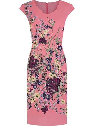 Sukienka damska Hortensja III, wiosenna kreacja w kwiaty.