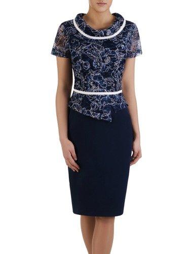 Sukienka damska Ingrida, wizytowa kreacja z koronki i tkaniny.