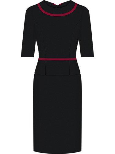 Sukienka damska Jonata II, czarna kreacja z kołnierzem i baskinką.