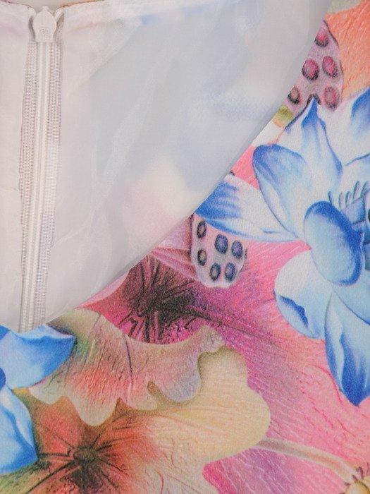 Sukienka damska Klarens III, wiosenna kreacja w kwiaty.