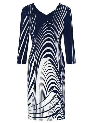 Sukienka damska Luis, jesienna kreacja w geometrycznym wzorze.