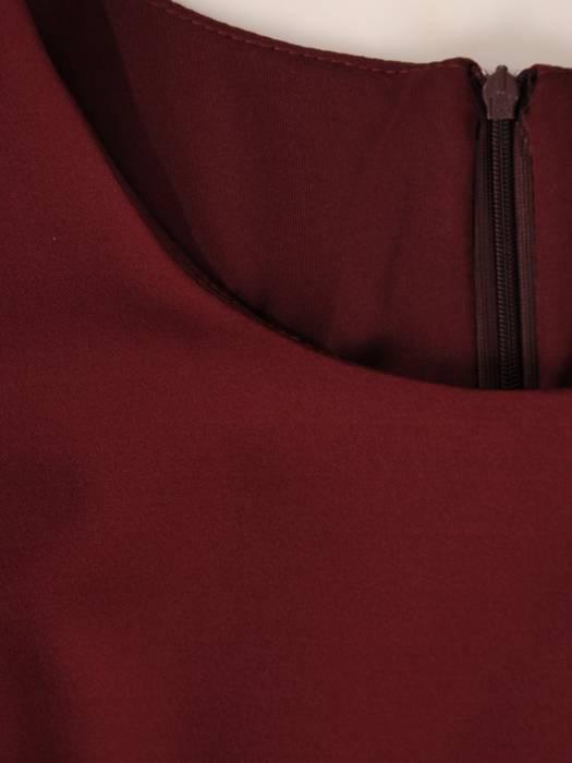 Sukienka damska, bordowa kreacja z ozdobnymi rękawami 27658