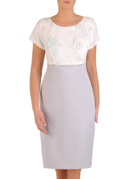 Sukienka damska, elegancka kreacja z wytłaczaną górą 28277