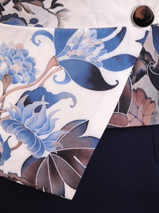 Sukienka damska, kopertowa kreacja z łączonych tkanin 21281.