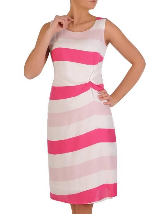 Sukienka damska w różowe paski 28288