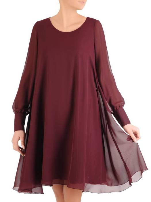 Sukienka damska z długim rękawem, zwiewna kreacja w modnym bordowym kolorze 27927