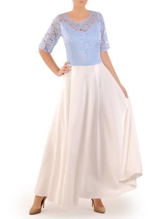 Sukienka koktajlowa maksi, kreacja z koronkową górą 30885