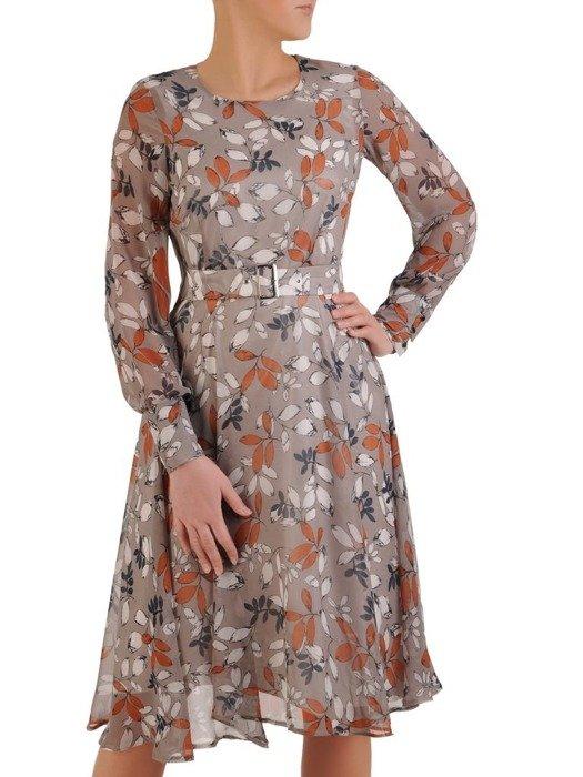 Sukienka koktajlowa, zwiewna kreacja z paskiem 25611
