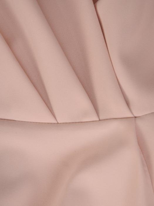 Sukienka kopertowa, kremowa kreacja z rozcięciem 20206.