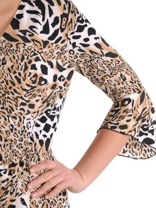 Sukienka kopertowa, modna kreacja w panterkę 25697