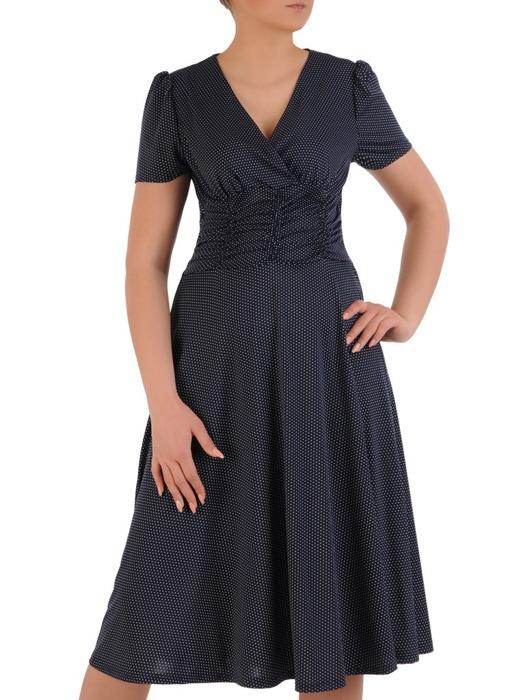 Sukienka kopertowa, rozkloszowana kreacja w groszki 20806.
