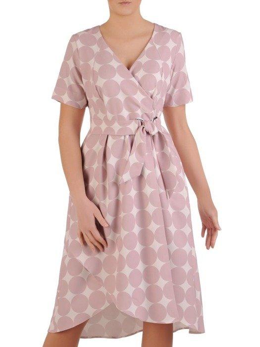 Sukienka kopertowa, wiosenna kreacja w geometrycznym wzorze 25551