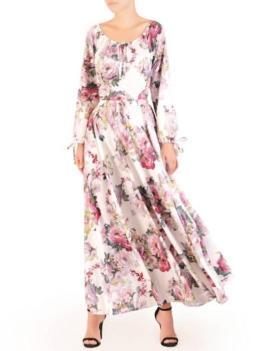 Sukienka maxi, elegancka kreacja z rozcięciem 30108