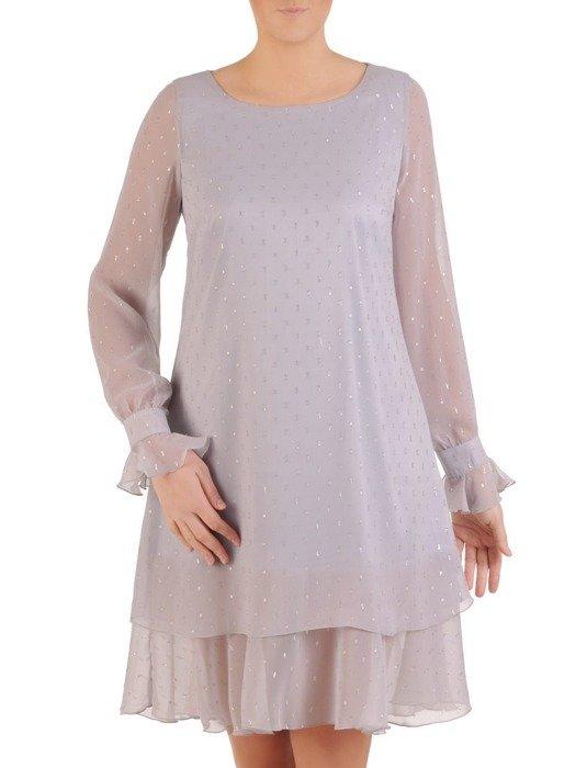 Sukienka o trapezowym kroju, kreacja z falbanami  25320