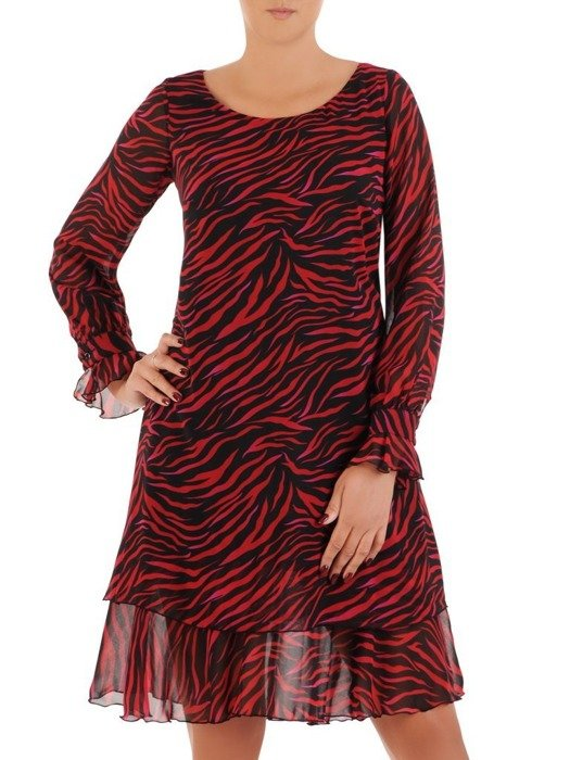 Sukienka o trapezowym kroju, kreacja z falbanami 26798