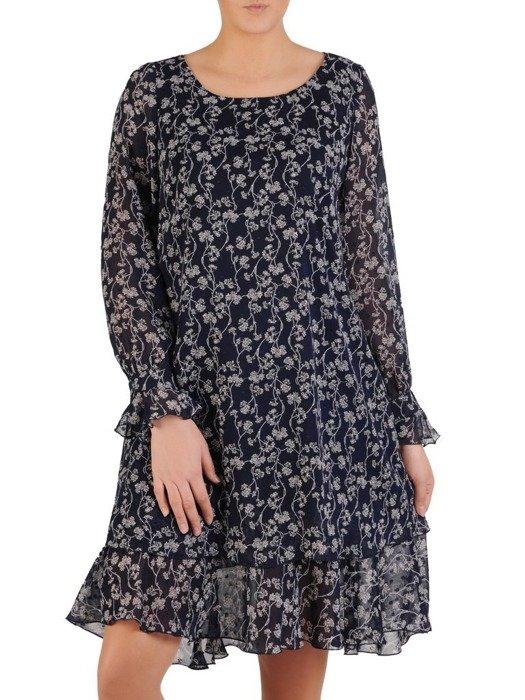 Sukienka o trapezowym kroju, kreacja z oryginalnym nadrukiem 24663