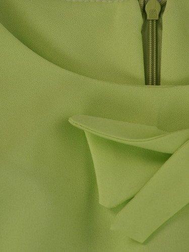 Sukienka tulipanowa Elsa II, pistacjowa kreacja z ozdobnymi marszczeniami.