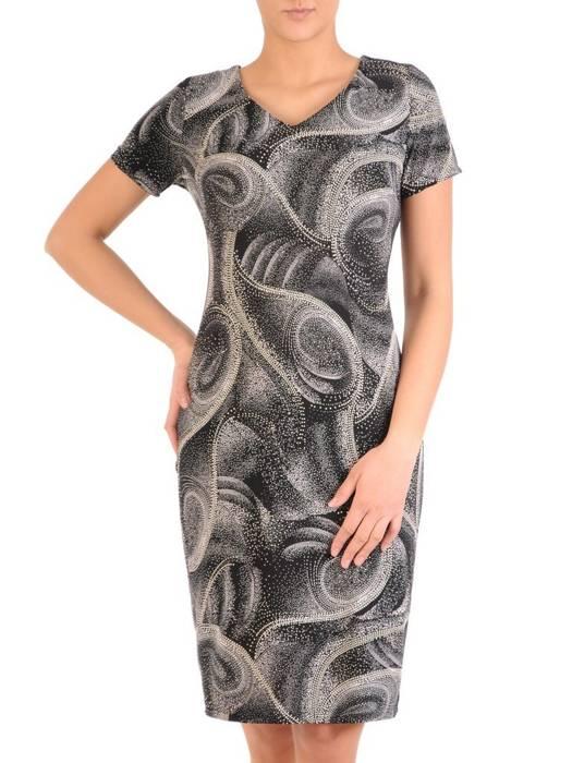 Sukienka w ciekawy wzór, prosty fason z dekoltem w serek 28826