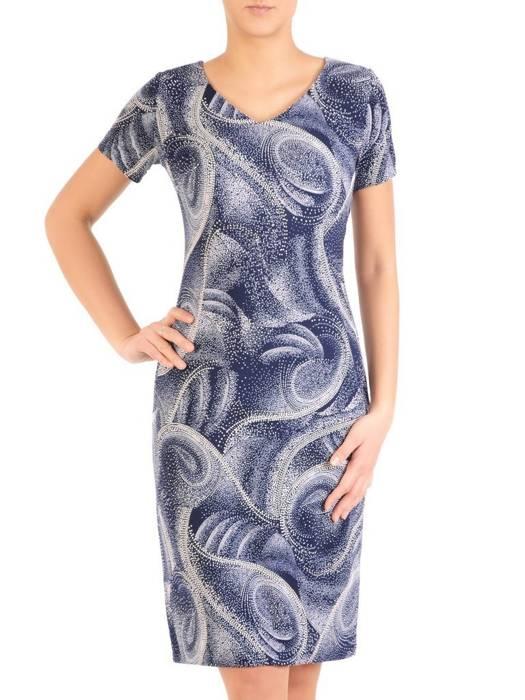 Sukienka w ciekawy wzór, prosty fason z dekoltem w serek 28827
