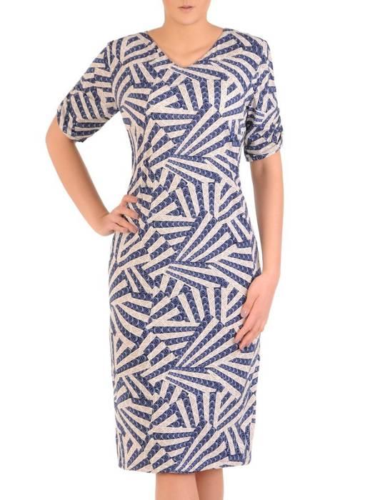 Sukienka w ciekawy wzór, prosty fason z dekoltem w serek 28927