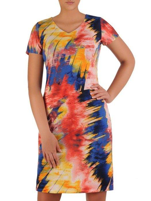 Sukienka w geometryczny wzór, prosty fason z dekoltem w serek 25966