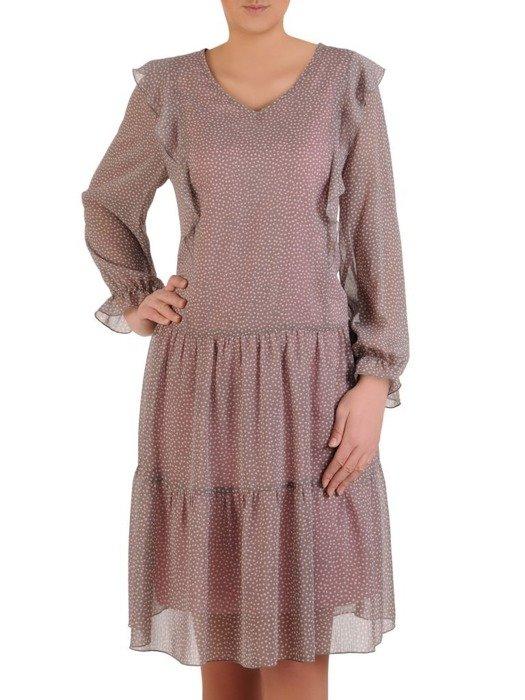 Sukienka w groszki, zwiewna kreacja z falbankami 25683
