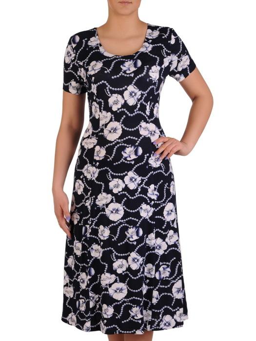 Sukienka w kwiaty, elastyczna kreacja z dzianiny 20491.