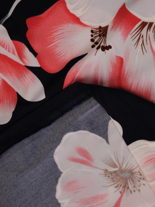 Sukienka w kwiaty, prosta kreacja z dzianiny 20857.