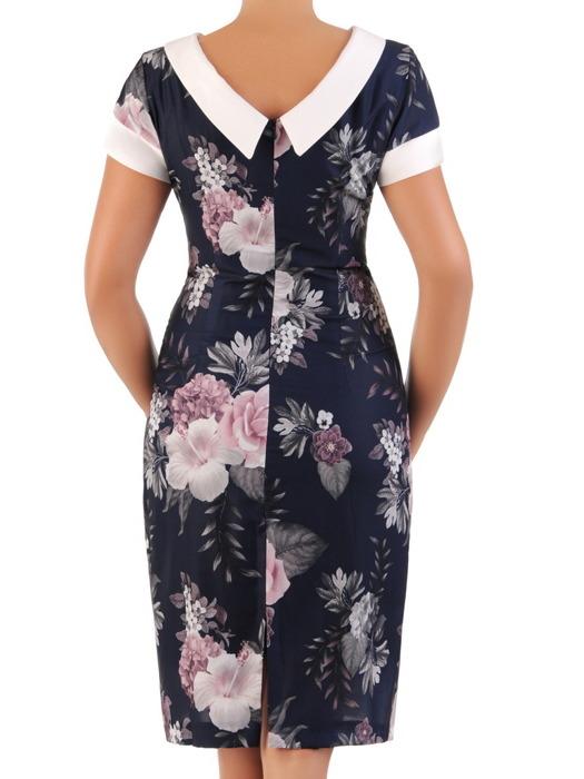 Sukienka w kwiaty, prosta kreacja z kontrastowymi wstawkami 21588.