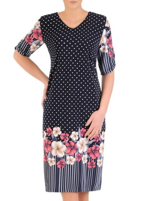 Sukienka w kwiaty, prosty fason z dekoltem w serek 28915