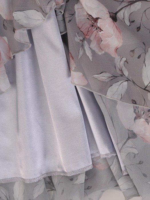 Sukienka w kwiaty, wiosenna kreacja z modnymi falbanami 25561