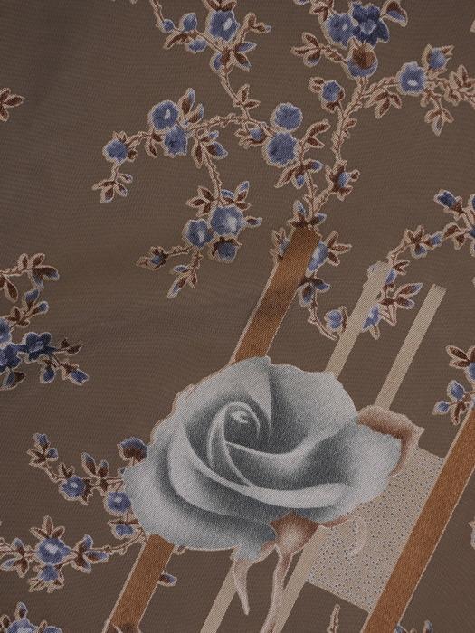 Sukienka w kwiaty, zwiewna kreacja z ozdobnymi rękawami 22038.