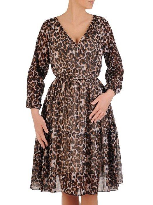 Sukienka w panterkę, rozkloszowana kreacja kopertowa 25945