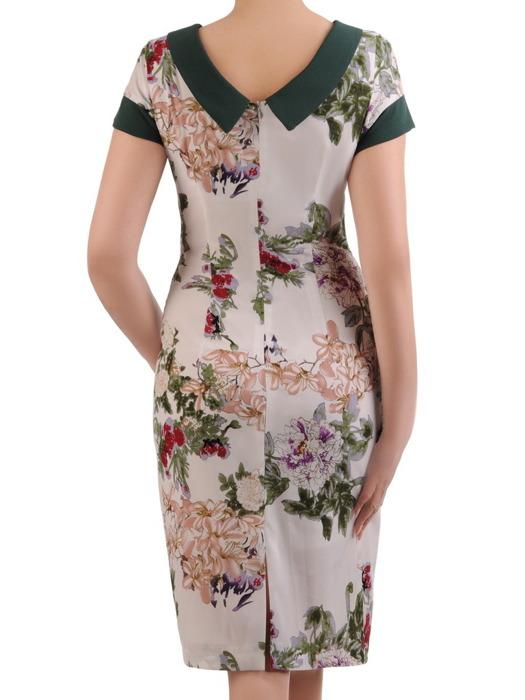 Sukienka wiosenna, prosta kreacja w kwiaty 20730.