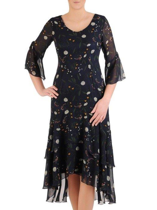 Sukienka wizytowa, granatowa kreacja w kwiaty 25608