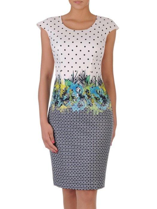 Sukienka wizytowa w nowoczesne wzory 16991, elegancka kreacja bez rękawów