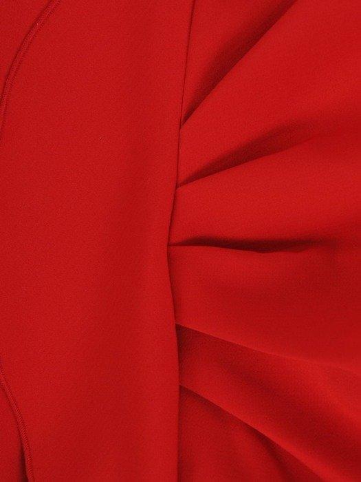 Sukienka wyjściowa, czerwona kreacja z ozdobnymi falbanami 26706