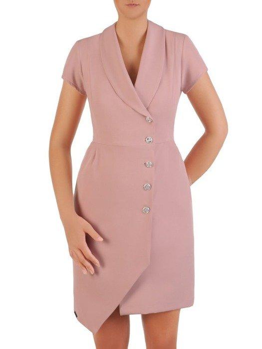 Sukienka wyjściowa, elegancka kreacja z ozdobnymi guzikami 26180