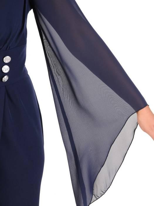 Sukienka wyjściowa, kopertowa kreacja z ozdobnymi rękawami 27735