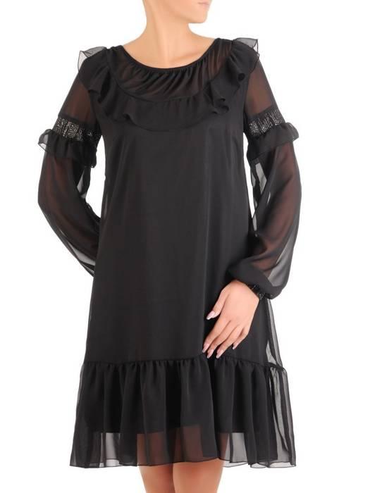 Sukienka wyjściowa, luźna kreacja z ozdobnym dekoltem 27364