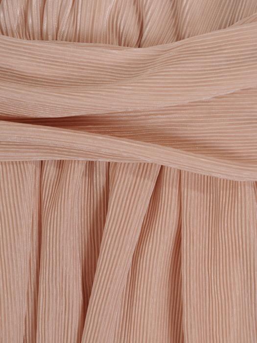 Sukienka wyjściowa, pudrowa kreacja z dekoltem w serek 21470.