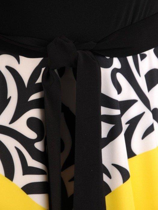 Sukienka wyjściowa, rozkloszowana kreacja w oryginalnym wzorze 26130