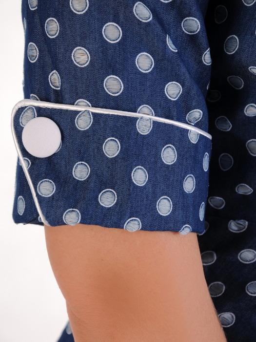 Sukienka wyszczuplająca, dżinsowa kreacja z kontrastowymi wstawkami 20563.