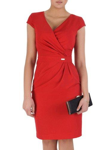 Sukienka wyszczuplająca talię Ormina I, czerwona kreacja kopertowa.