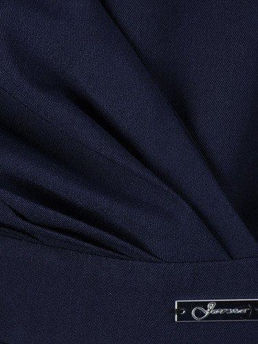 Sukienka wyszczuplająca talię Ormina II, granatowa kreacja kopertowa.